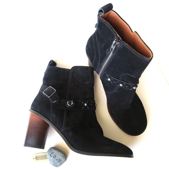 876e45f62e9 Coach Studded Western Boots Black Size 9.5 Moto NWT